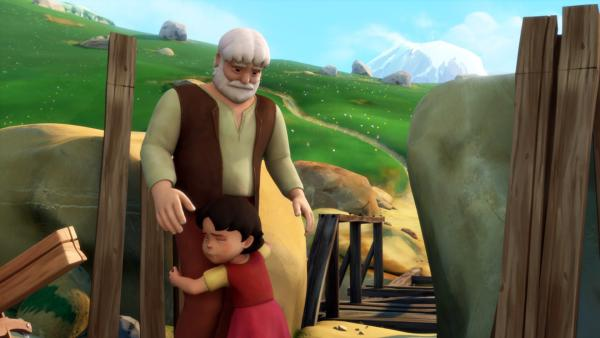 Heidi umarmt ihren Großvater.   Rechte: ZDF/Studio 100 Animation/Heidi Productions Pty. Limited