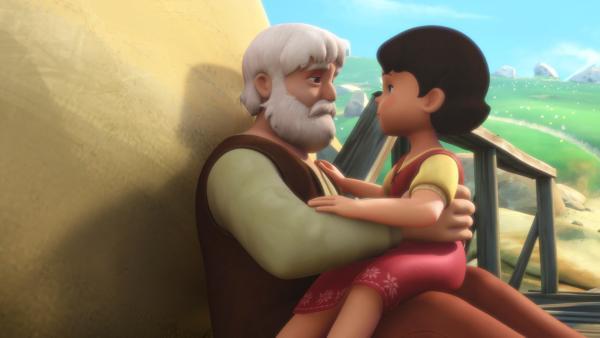 Großvater erzählt Heidi, was passiert ist. | Rechte: ZDF/Studio 100 Animation/Heidi Productions Pty. Limited