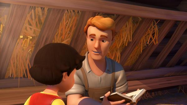 Friedrich erzählt Heidi, woher er Fräulein Rottenmeier kennt. | Rechte: ZDF/Studio 100 Animation/Heidi Productions Pty. Limited