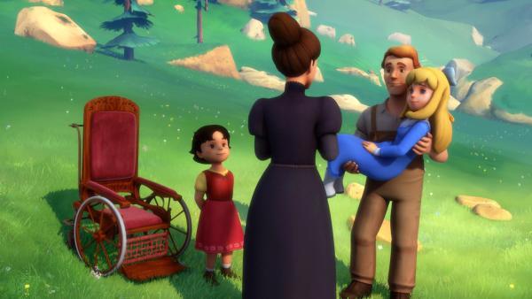 Friedrich hilft Fräulein Rottenmeier, die zwei Mädchen zu finden. | Rechte: ZDF/Studio 100 Animation/Heidi Productions Pty. Limited