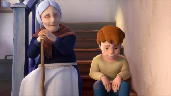 Peters Großmutter redet Peter zu, sich mit Heidi zu vertragen.   Rechte: ZDF/Studio 100 Animation/Heidi Productions Pty. Limited