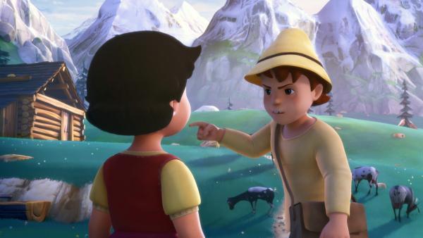 Peter erklärt Heidi, wieso er aus dem Baumhaus verschwunden ist. | Rechte: ZDF/Studio 100 Animation/Heidi Productions Pty. Limited
