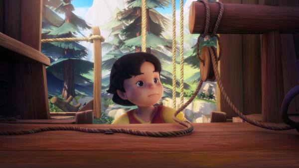 Heidi sieht, dass das Baumhaus leer ist.   Rechte: ZDF/Studio 100 Animation/Heidi Productions Pty. Limited