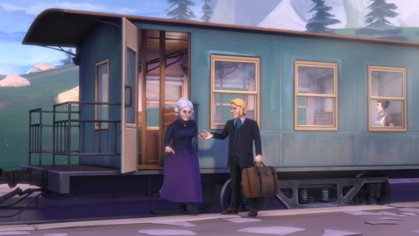 Herr Sesemann und Claras Großmutter steigen beim Dörfli aus dem Zug. | Rechte: ZDF/Studio 100 Animation/Heidi Productions Pty. Limited