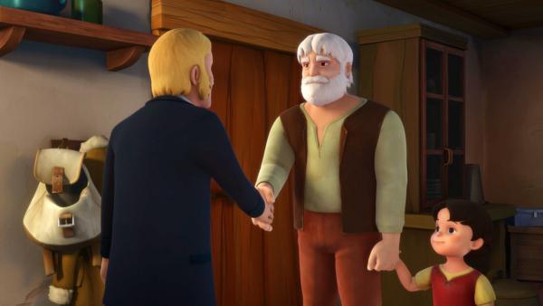 Herr Sesemann lernt Heidis Großvater kennen. | Rechte: ZDF/Studio 100 Animation/Heidi Productions Pty. Limited