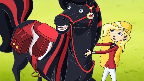 Sarah, das Mädchen aus reichem Hause, und ihr Pferd Scarlet | Rechte: ZDF/Dic Entertainment Corp.