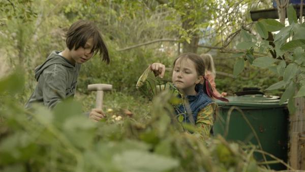 Der Garten ist ganz schön verwildert. Gut, dass Alice noch Hilfe von ihrer Schwester und deren Freundin bekommt. | Rechte: KiKA