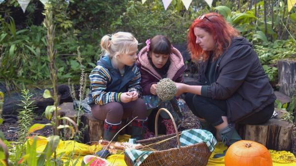 Sama (7 Jahre) lebt in England und liebt es, im Garten zu arbeiten. Gemeinsam mit ihrem Freund Isaac und der Gärtnerin Jo (re) pflanzen sie Karottensamen. | Rechte: ZDF/BBC Cbeebies