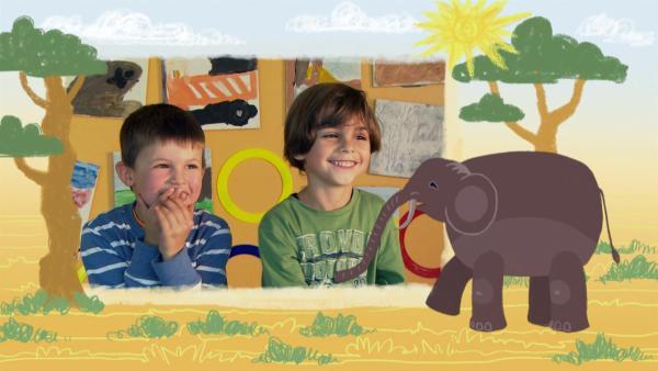 """""""Ich kenne ein Tier … und das hat einen Rüssel!"""" Wer beim Tierrätsel gut aufpasst, weiß bestimmt schnell, um welches Tier es heute geht: Um den Elefanten.   Rechte: SWR"""
