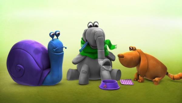 """In der """"Ich kenne ein Tier""""-Geschichte hat der Elefant einen Schnupfen. Die kauzige Schnecke will zunächst nicht gestört werden, doch letztlich hat sie eine Idee, wie dem Elefant zu helfen ist.   Rechte: SWR"""
