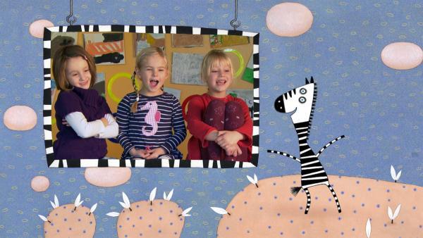 """""""Ich kenne ein Tier … und das hat Streifen!"""" Wer beim Tierrätsel gut aufpasst, weiß bestimmt schnell um welches Tier es heute geht: um das Zebra.   Rechte: SWR"""