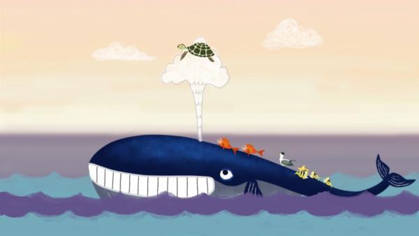 Weil der Wal so groß ist, traut sich kein Tier in seine Nähe. Doch als der Wal an die Oberfläche schwimmt, lernt er einen Vogel kennen, der ganz anders mit seiner Größe umgeht. Und schließlich verlieren auch die Meeresbewohner ihre Scheu... | Rechte: SWR