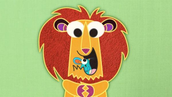 Auf der Patchwork-Schmusedecke gibt es ganz viele Tiere. Heute hat der Löwe auf der Schmusedecke ein Problem. Er kann nicht Brüllen. Gut, dass die Maus ihm zur Hilfe kommt. | Rechte: SWR