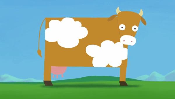 """In der """"Ich kenne ein Tier""""-Geschichte verliert eine Kuh ihre geliebten Flecken.   Rechte: KiKA"""