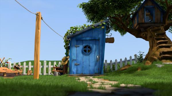 Hinter dieser Tür hat Gramps den Mikronator entwickelt. | Rechte: KiKA/One Animation PTE LTD.
