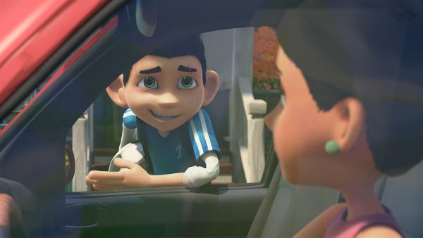 Zak verabschiedet sich von seiner Mutter. | Rechte: KiKA/One Animation PTE LTD.