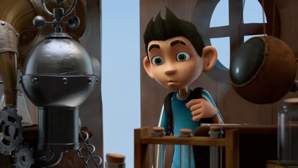 Zak entdeckt den Mikronator im Schuppen. | Rechte: KiKA/One Animation PTE LTD.