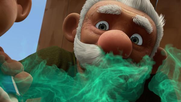 Gramps erwischt Zak dabei, wie er den Mikronator aktiviert. Zu spät!  | Rechte: KiKA/One Animation PTE LTD.
