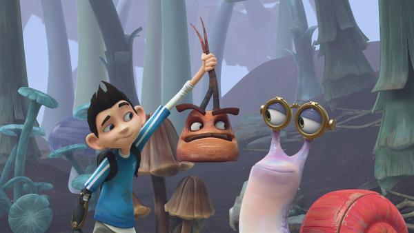Auch als herrenloser Kopf ärgert Hye die Insectibles Zak und Syd. | Rechte: KiKA/One Animation PTE LTD.