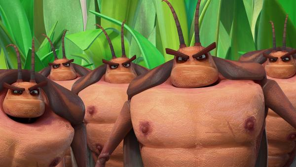 Von dem Schauspiel sind die Kakerlaken nicht beeindruckt.   Rechte: KiKA/One Animation PTE LTD.