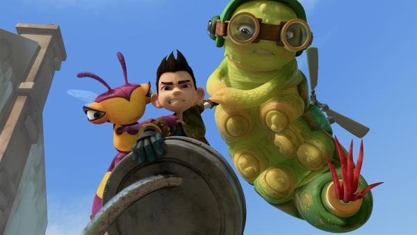 Willow, Zak und Chowser kämpfen um ein Teil des Mikronators.   Rechte: KiKA/One Animation PTE LTD.