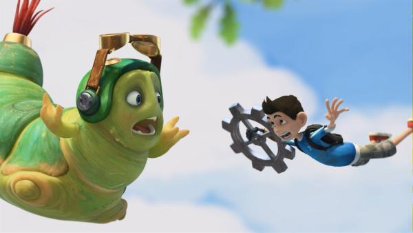 Chowser und Zak stürzen ab.   Rechte: KiKA/One Animation PTE LTD.