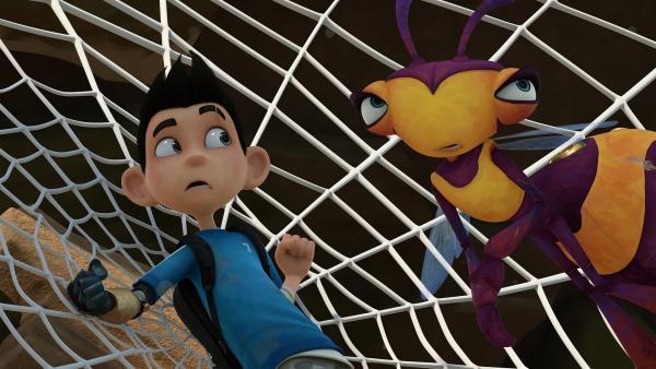 Zak klebt in einem Spinnennetz fest. Willow gibt ihm einen Ratschlag. | Rechte: KiKA/One Animation PTE LTD.