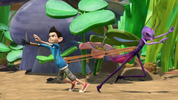 Zak und Lidia versuchen sich voneinander zu befreien. | Rechte: KiKA/One Animation PTE LTD.