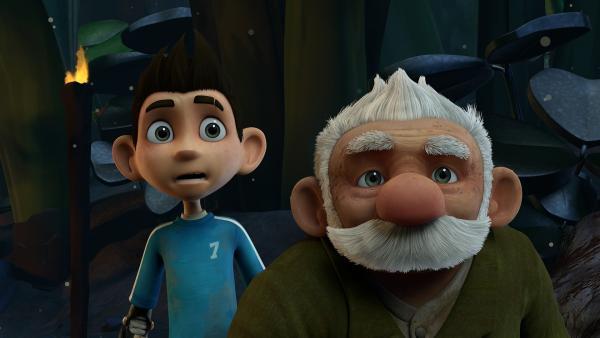 Zak und Gramps schöpfen Verdacht.    Rechte: KiKA/One Animation PTE LTD.