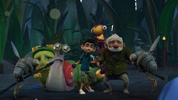 Die Fliegen halten Chowser, Syd, Zak, Willow und Gramps fest.   Rechte: KiKA/One Animation PTE LTD.