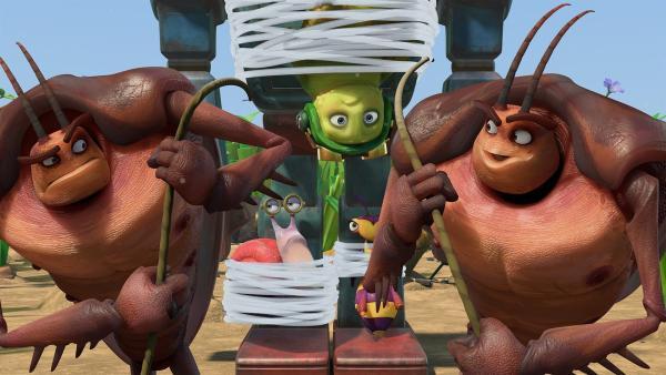 Hye und Lo haben Chowser, Syd und Willow überwältigt und wollen sie zu Adilla bringen. | Rechte: KiKA/One Animation PTE LTD.