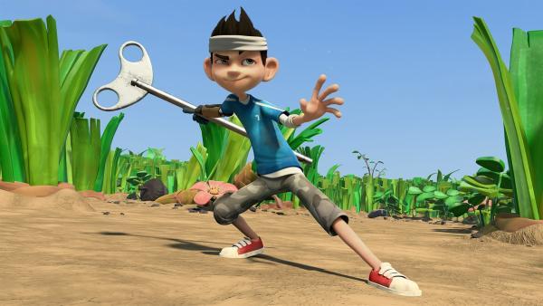 Not macht erfinderisch: Mit einem Schlüssel zeigt Zak, was er gelernt hat. | Rechte: KiKA/One Animation PTE LTD.