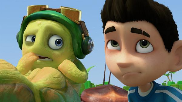 Chowser bekommt Angst. Zak überlegt.  | Rechte: KiKA/One Animation PTE LTD.
