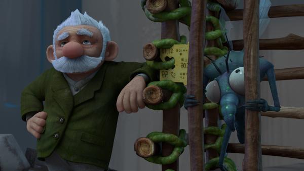 Gramps findet, dass Gnat ein guter Zuhörer ist. | Rechte: KiKA/One Animation PTE LTD.