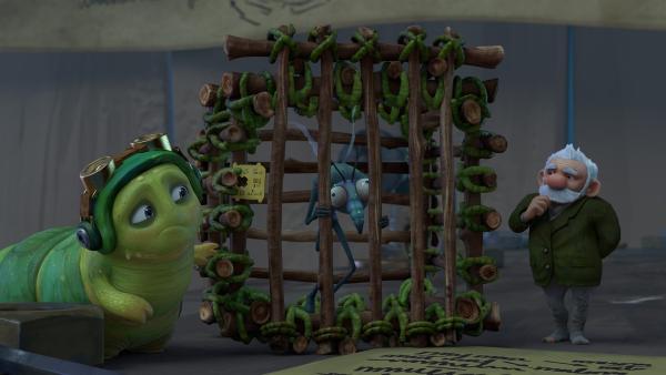 Chowser hat Gnat zu Gramps gebracht, der sich um ihn kümmern soll. | Rechte: KiKA/One Animation PTE LTD.