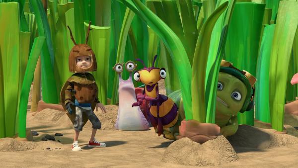 Zaks Verkleidung droht aufzufliegen. Syd, Willow und Chowser haben Angst. | Rechte: KiKA/One Animation PTE LTD.