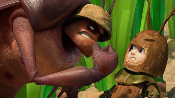 Der Kommandant der Kakerlaken droht Zak. | Rechte: KiKA/One Animation PTE LTD.