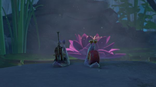Die beiden Schnecken haben eine romantische Verabredung.   Rechte: KiKA/One Animation PTE LTD.