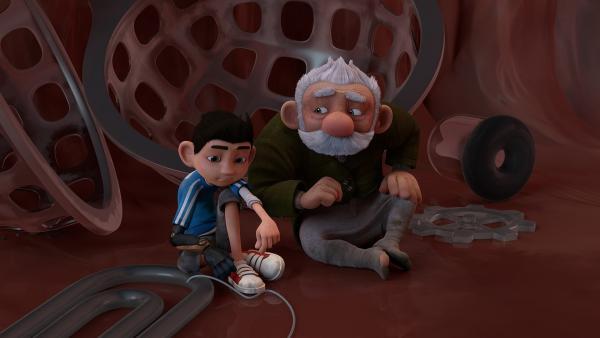 Zak und Gramps überlegen, wie sie sich aus dem Fischmagen befreien können. | Rechte: KiKA/One Animation PTE LTD.
