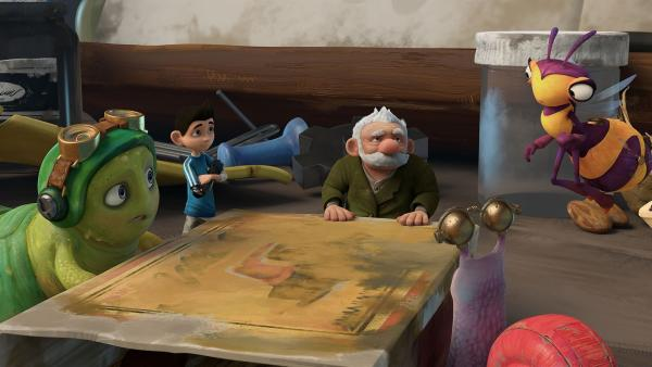 Die Insectibles beraten sich mit Gramps.  | Rechte: KiKA/One Animation PTE LTD.