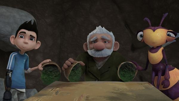 Zak, Gramps und Willow essen den Eukalyptus-Brei lieber nicht. | Rechte: KiKA/One Animation PTE LTD.