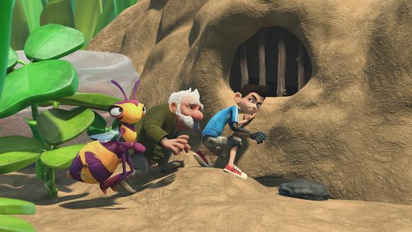 Willow, Gramps und Zak interessieren sich für die Höhle. | Rechte: KiKA/One Animation PTE LTD.