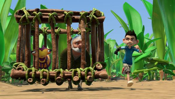 Willow und Gramps fliehen. Zak verfolgt sie, da er sich an nichts erinnern kann. | Rechte: KiKA/One Animation PTE LTD.