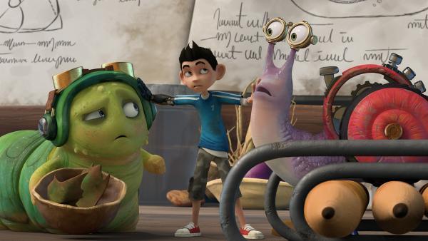 Zak schlichtet einen Streit zwischen Chowser und Syd. | Rechte: KiKA/One Animation PTE LTD.