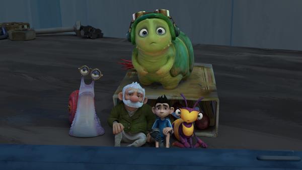 Syd, Gramps, Zak, Willow und Chowser sehen zusammen einen Film an. | Rechte: KiKA/One Animation PTE LTD.