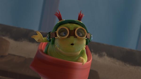 Chowser wird durch ein Gummiband in die Luft katapultiert. | Rechte: KiKA/One Animation PTE LTD.