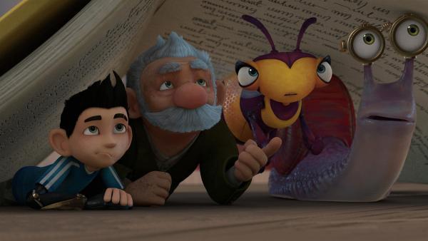 Zak, Gramps, Willow und Syd suchen Schutz unter einem Buch.  | Rechte: KiKA/One Animation PTE LTD.