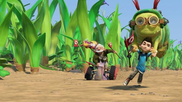 Die Insectibles geben Gas: Sie müssen ihre Pizza vor den anderen Lebewesen im Garten erreichen. | Rechte: KiKA/One Animation PTE LTD.