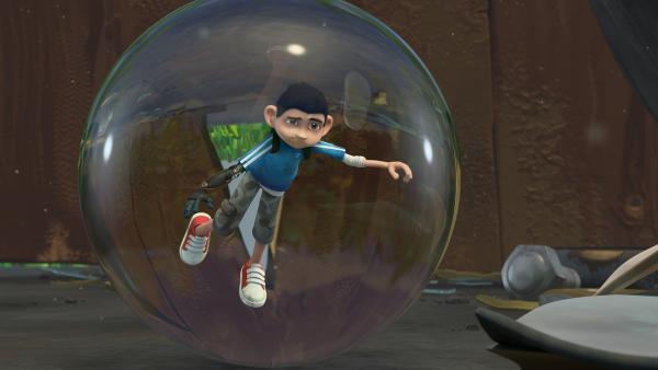 Zak ist in einem Regentropfen gefangen.    Rechte: KiKA/One Animation PTE LTD.
