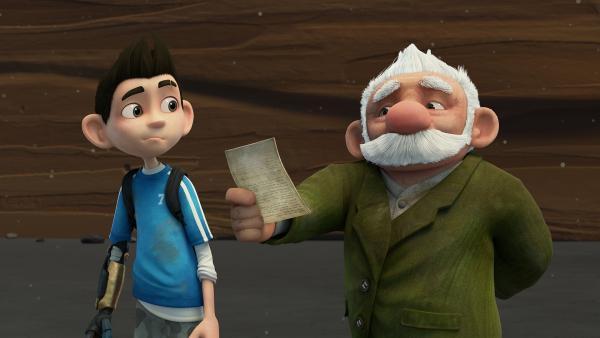 Gramps liest Zaks Hausaufgaben vor.    Rechte: KiKA/One Animation PTE LTD.